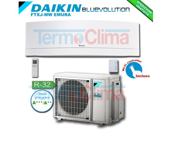 DAIKIN CLIMATIZZATORE CONDIZIONATORE MONOSPLIT PARETE INVERTER BLUEVOLUTION 12000 BTU/h EMURA BIANCO FTXJ35MW/RXJ35M R32 A+++ A++ WI-FI INCLUSO