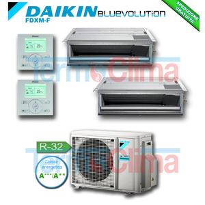 DAIKIN CLIMATIZZATORE CONDIZIONATORE DUALSPLIT SOFFITTO CANALIZZABILE INVERTER BLUEVOLUTION 9000+12000 BTU/h 9+12 FDXM25F+FDXM35F+2MXM50M R32 A+++ A++ WI-FI OPTIONAL
