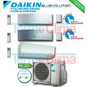 DAIKIN CLIMATIZZATORE CONDIZIONATORE TRIAL SPLIT ( 3MXM68N ) PARETE INVERTER BLUEVOLUTION 7000+9000+21000 BTU/h 7+9+21 SERIE M FTXJ20MW+FTXJ25MS+FTXM60M EMURA GRIGIO EMURA BIANCO+3MXM68M R32 A+++ A++ WI-FI OPTIONAL