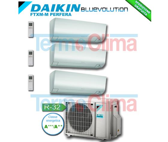 DAIKIN CLIMATIZZATORE CONDIZIONATORE TRIAL SPLIT ( 3MXM52M ) PARETE INVERTER BLUEVOLUTION 9000+9000+12000 BTU/h 9+9+12 SERIE M FTXM25M+FTXM25M+FTXM35M + 3MXM52N R32 A+++ A++ WI-FI OPTIONAL