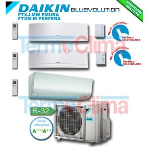 DAIKIN CLIMATIZZATORE CONDIZIONATORE TRIAL SPLIT PARETE INVERTER BLUEVOLUTION 5000+7000+12000 BTU/h 5+7+12 SERIE M CTXM15M+FTXJ20MW+FTXJ35MW EMURA BIANCO+3MXM40M R32 A+++ A++ WI-FI OPTIONAL