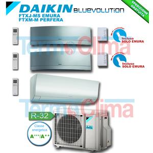 CLIMATIZZATORE CONDIZIONATORE TRIAL SPLIT PARETE INVERTER BLUEVOLUTION 7000+7000+9000 BTU/h 7+7+9 SERIE M FTXM20M+FTXJ20MS+FTXJ25MS EMURA GRIGIO+3MXM40M R32 A+++ A++ WI-FI OPTIONAL