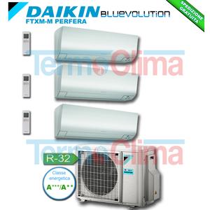 DAIKIN CLIMATIZZATORE CONDIZIONATORE TRIAL SPLIT PARETE INVERTER BLUEVOLUTION 9000+9000+12000 BTU/h SERIE M FTXM25M+FTXM25M+FTXM35M 9+9+12 + 3MXM68M R32 A+++ A++ WI-FI OPTIONAL