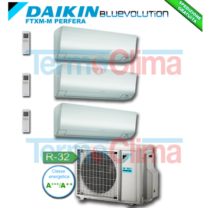 DAIKIN CLIMATIZZATORE CONDIZIONATORE TRIAL SPLIT PARETE INVERTER BLUEVOLUTION 12000+12000+12000 BTU/h SERIE M FTXM35M+FTXM35M+FTXM35M 12+12+12 + 3MXM68N R32 A+++ A++ WI-FI OPTIONAL