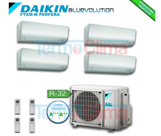 DAIKIN CLIMATIZZATORE CONDIZIONATORE QUADRI SPLIT QUADRISPLIT (4MXM68M) PARETE INVERTER BLUEVOLUTION 9+9+9+9 SERIE M FTXM25M+FTXM25M+FTXM25M+FTXM25M+4MXM68N R32 A+++ A++ WI-FI OPTIONAL