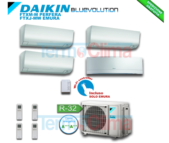 DAIKIN CLIMATIZZATORE CONDIZIONATORE QUADRI SPLIT QUADRISPLIT PARETE INVERTER BLUEVOLUTION 9+9+9+9 SERIE M FTXM25M+FTXM25M+FTXM25M+FTXJ25MW+4MXM68N A+++ A++ R32 WI-FI OPTIONAL