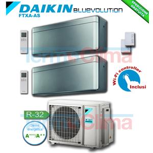DAIKIN CLIMATIZZATORE CONDIZIONATORE DUAL SPLIT DUALSPLIT PARETE INVERTER BLUEVOLUTION 7000+12000 BTU/h 7+12 STYLISH GRIGIO FTXA20AS+FTXA35AS + 2MXM40M R32 A+++ A++ WI-FI INCLUSO
