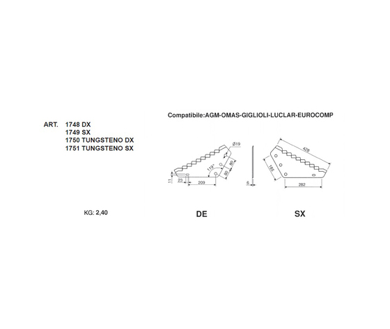 Lame per carri unifeed compatibile: AGM-OMAS-GIGLIOLI-LUCLAR-EUROCOMP