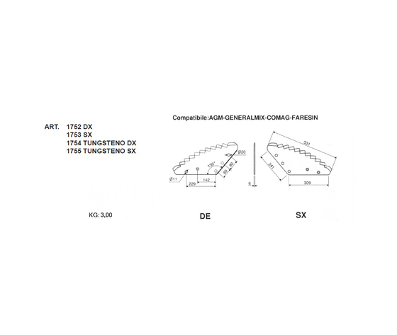 Lame per carri unifeed compatibile: AGM-GENERALMIX-COMAG-FARESIN