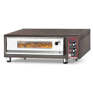 Forno pizza elettrico con refrattario in pietra lavica, sportello con vetro e illuminazione interna  4-PIZZA-CB-VI