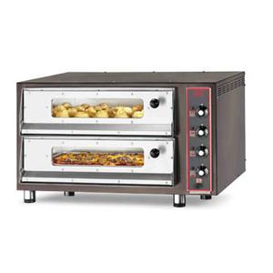 Forno pizza elettrico con refrattario in pietra lavica, sportello con vetro e illuminazione interna  8-PIZZA-CB-4TVI