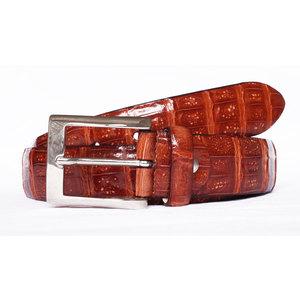Cintura in Coccodrillo Selvaggio Rosso Gold
