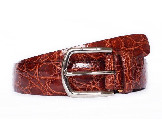 Cintura in coccodrillo Rosso Gold