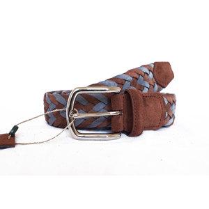 Cintura Intrecciata Scamosciato Azzurro e Marrone