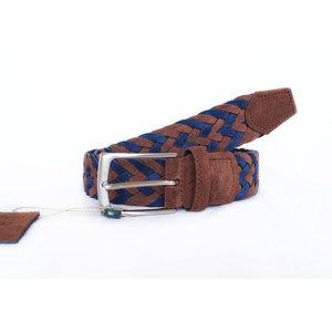 Cintura Intrecciata Scamosciato Blu e Marrone