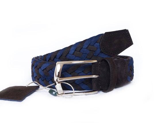 Cintura Intrecciata Scamosciato Blu e Nero