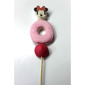 spiedino marshmallow testa di minnie fiocco rosso e numero 0