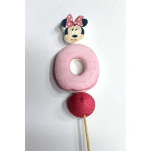 spiedino marshmallow testa di minnie fiocco fucsia e numero 0