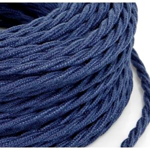 Cavo elettrico a treccia rivestito in tessuto Grezzo Jeans Blu