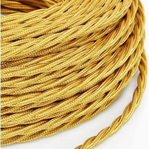 Cavo elettrico a treccia rivestito in tessuto Oro