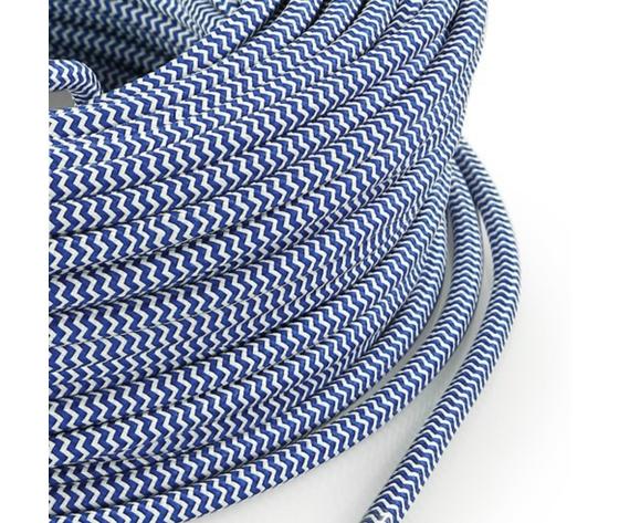 Cavo elettrico rotondo rivestito in tessuto Filato Bicolore Bianco / Blu