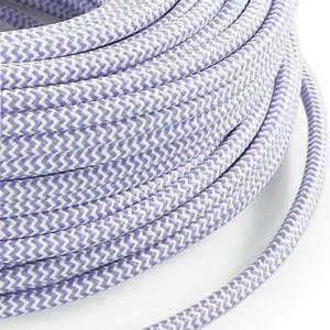 Cavo elettrico rotondo rivestito in tessuto Filato Bicolore Bianco / Lilla