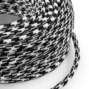 Cavo elettrico rotondo rivestito in tessuto Filato Bicolore Spiga Bianco / Nero