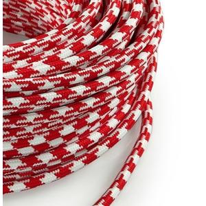 Cavo elettrico rotondo rivestito in tessuto Filato Bicolore Spiga Bianco / Rosso