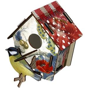 Casetta decorativa con uccellino in mdf, Mod. Poppy Seed Design Miho