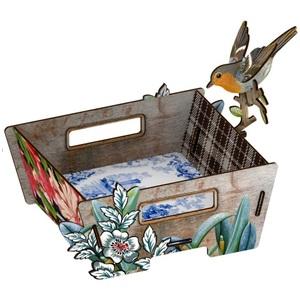 Portapane in mdf con uccellino decorativo mod Italian Hospitality Design Miho