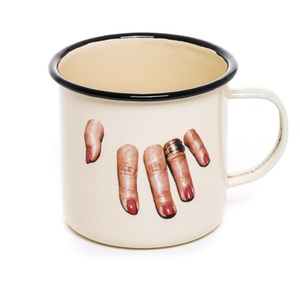 Tazza Mug In Metallo Smaltato, Fingers, Design Seletti