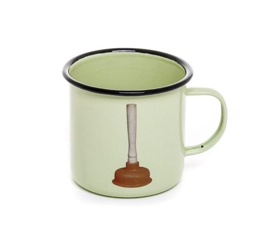 Tazza Mug In Metallo Smaltato, Plunger, Design Seletti