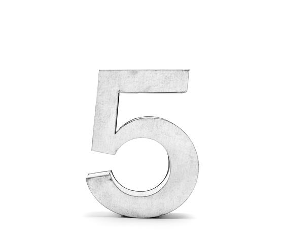 NUMERO IN METALLO METALVETICA h. Cm. 35 -  5, design seletti