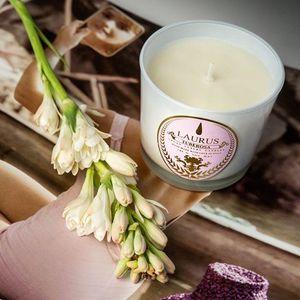 Candela Profumata  con Cera di Soia Fragranza  Aroma Tuberosa, Marca Laurus Luxury Fragrance
