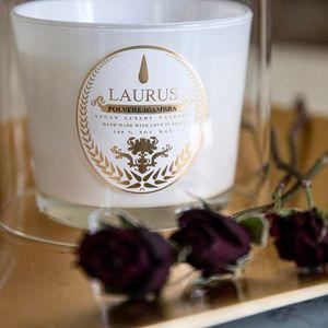 Candela Profumata con Cera di Soia Fragranza Polvere D'Ambra, Marca Laurus Luxury Fragrances