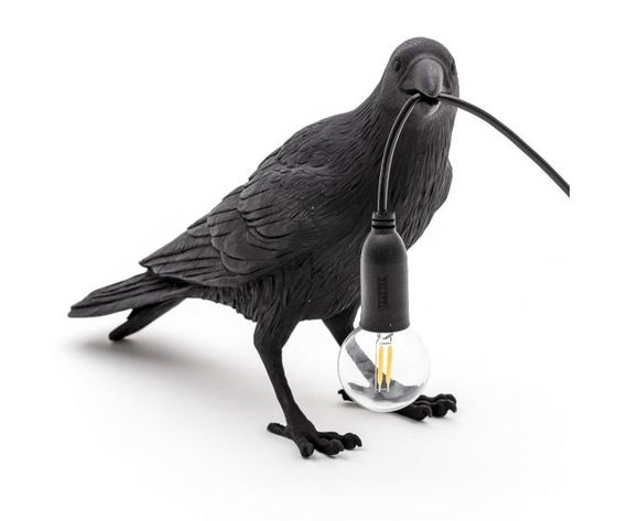 Lampada nera uccello bird lamp