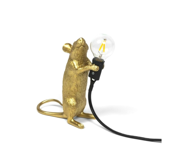 Mouse lamp gold in piedi