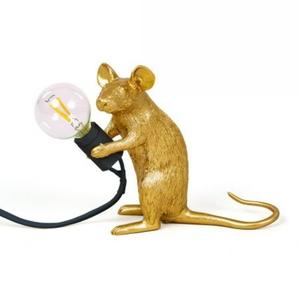 Mouse Lamp Gold Seduto Lampada a Topolino Seletti