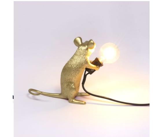 Mouse lamp seduto oro