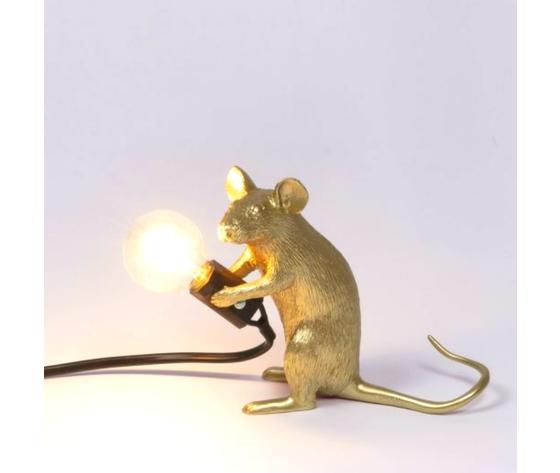 Mouse lamp seduto gold