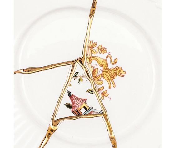 Piatto da dessert kintsugi bianco oro motivi multicolori madeindesign 301692 original 1
