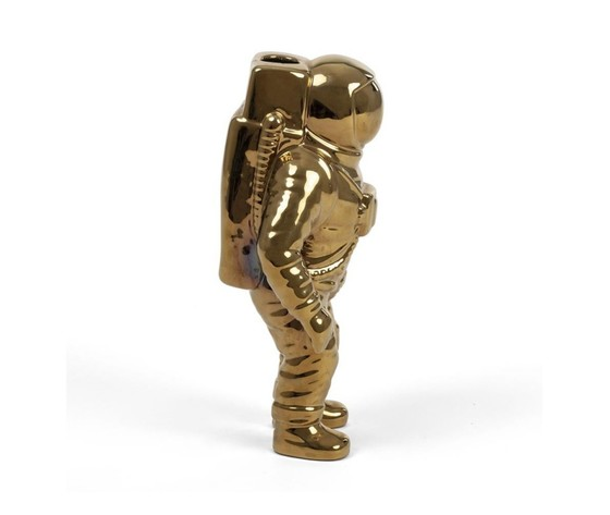 Seletti vaso in porcellana astronauta cosmic diner starman gold 15x11cm h28cm %281%29