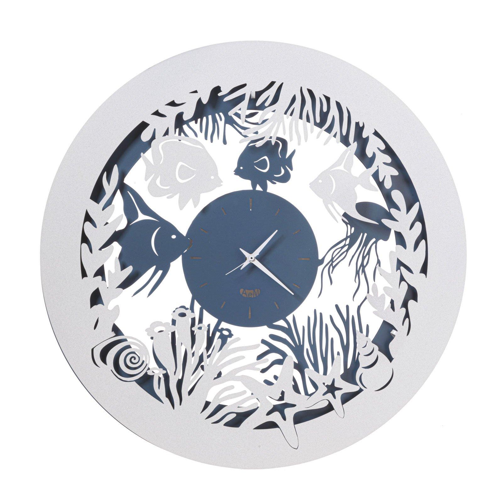 ARTI E MESTIERI Appendiabiti da Parete in Ferro con Coralli e Pesci MOD Nettuno Colore Azzurro Design