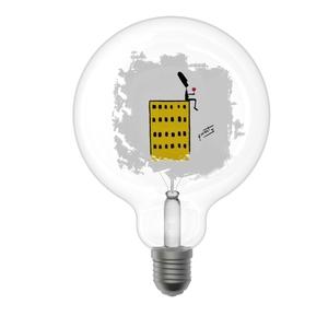 Lampada Decorativa Globo G125 Linea Poetic Mod. Grattacielo Attacco E27 Design Filotto