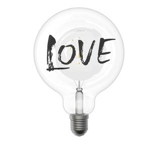 Lampada Decorativa Globo G125 Linea Tattoo Funny  Scritta  Love Attacco E27 Design Filotto