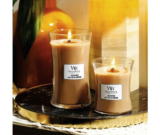 Golden milk curcuma woodwick candela profumata