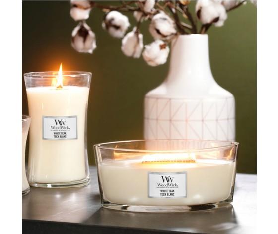 White teak candele woodwick yankeecandle