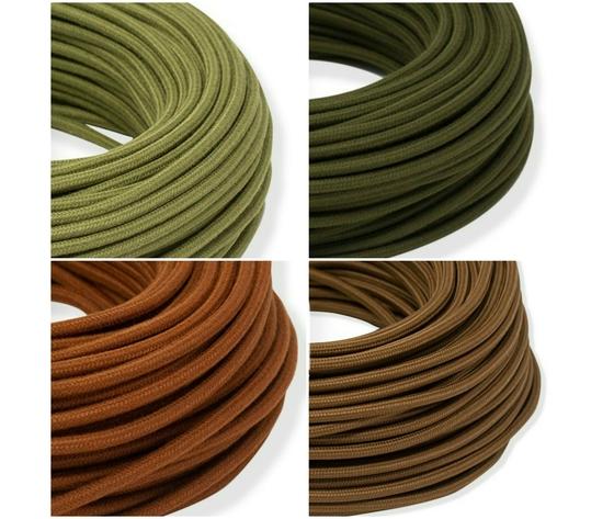 Cavi elettrici tessuto tondi verde marrone