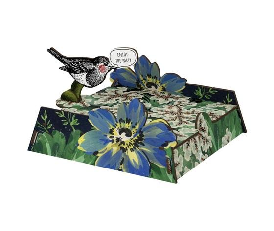 Portatovaglioli vendita offerta miho uccellino giglio fiore blu