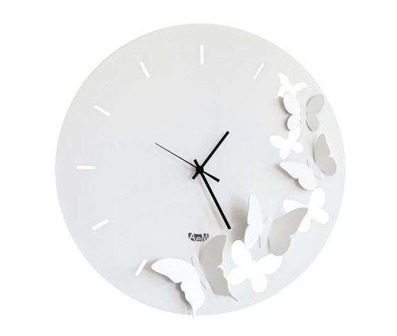 Aem2875    orologi parete farfalle arti e mestieri bianco